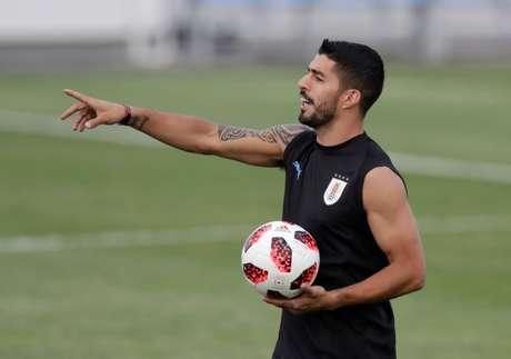 Atacante uruguaio Luis Suárez durante treino para jogo com Portugal 29/06/2018  REUTERS/Henry Romero