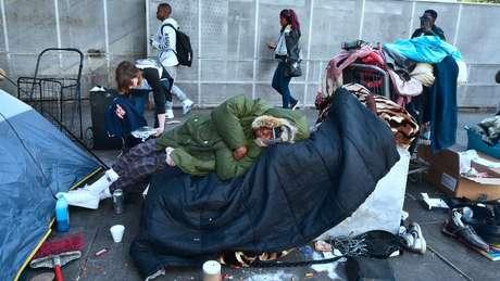 Em Skid Row, em Los Angeles, vivem milhares de sem-teto