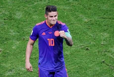 James Rodríguez comemora gol da Colômbia