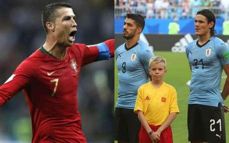 Cristiano Ronaldo, Suárez e Cavani são astros em campo neste sábado (Montagem sobre fotos de AFP e Divulgação)