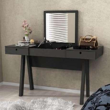 49. Modelo preto de penteadeira com espelho simples