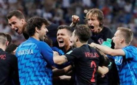Jogadores da Croácia comemoram classificação  1/7/2018    REUTERS/Carlos Barria