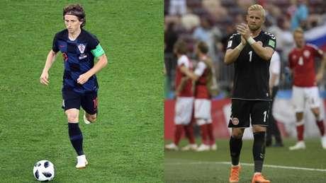 Modric e Schmeichel são dois dos expoentes do duelo deste domingo entre Croácia e Dinamarca