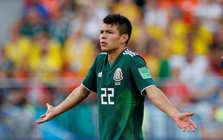 Estrela mexicana, atacante Hirving Lozano mostra incredulidade no jogo contra a Suécia