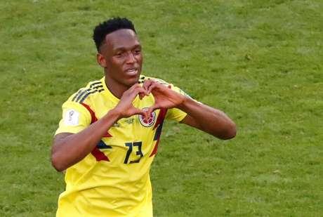 Yerry Mina, da Colômbia, comemora gol marcado contra Senegal na Copa do Mundo 28/06/2018 REUTERS/David Gray