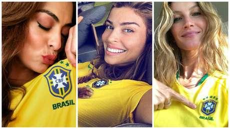 Juliana Paes, Grazi Massafera e Gisele Bündchen, com as camisetas oficiais do Brasil de 2018 (Fotos: Reprodução/Instagram)