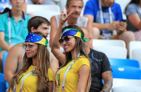 Torcedoras brasileiras durante a Copa da Rússia
