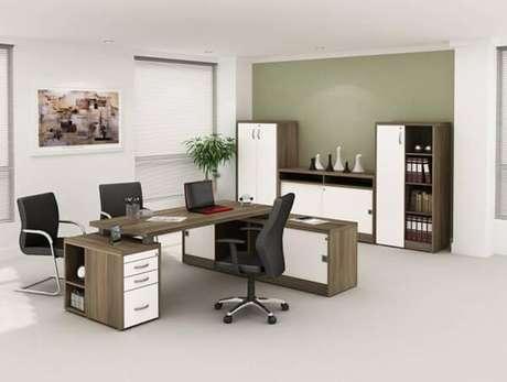 20 – Mesa para escritório com gaveta padrão madeira.