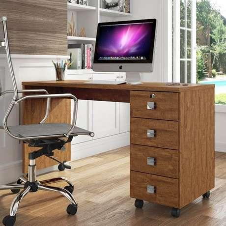 17 – Escrivaninha para escritório com rodinhas e gavetas.