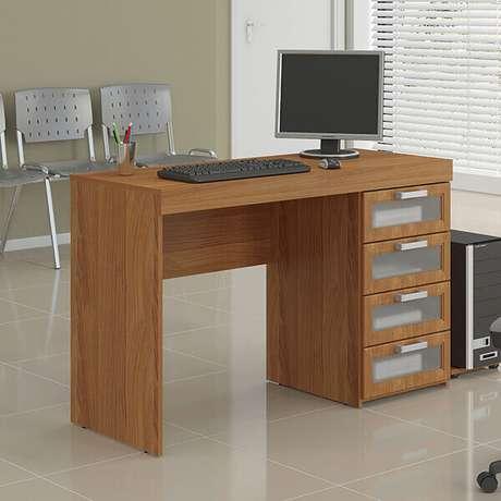 24 -Mesa para escritório com gaveta e visor de vidro.