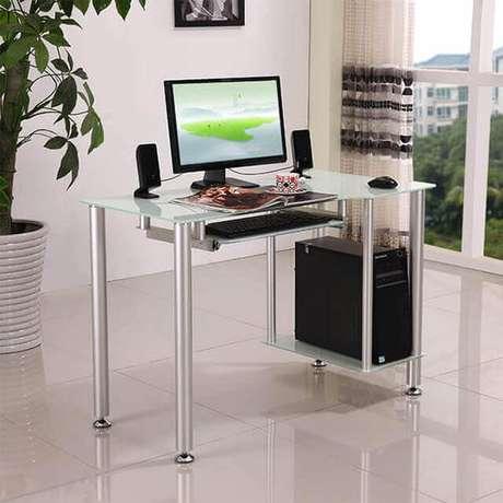 11 – Mesa para escritório de vidro com pés de alumínio fosco.
