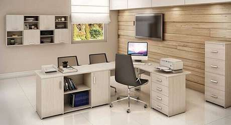 28 – Mesa para escritório em L é ideal para área de recepção.