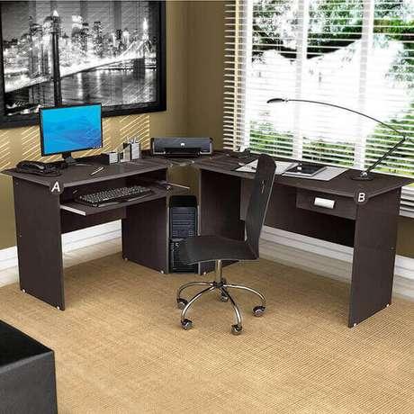 """6 – Mesa para escritório em """"L""""."""