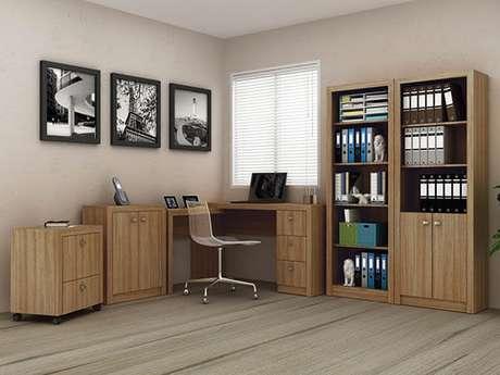 16 – Mesa para escritório de madeira para canto.