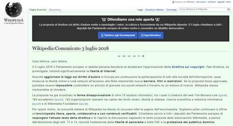 Mensagem de protesto publicada na versão em italiano da Wikipedia
