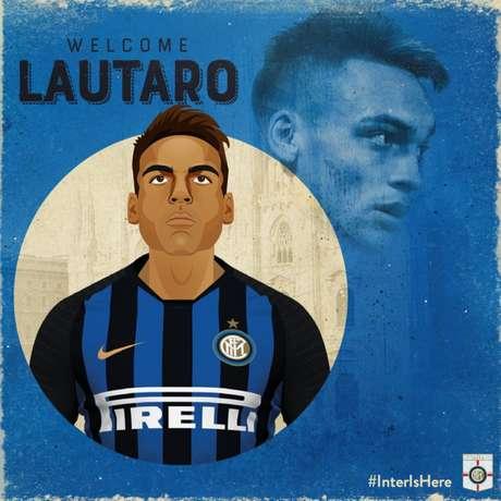 Lautaro Martínez é anunciado como novo reforço da Inter de Milão (Foto: Divulgação)
