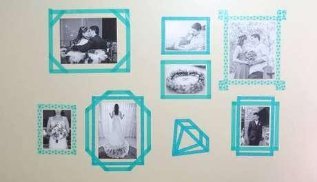 7- Paredes decoradas com fotos em molduras de fita.