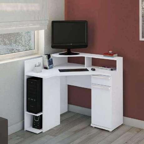 55. Modelos simples e pequeno de mesa de canto para computador
