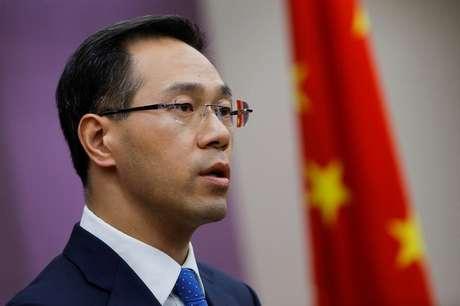 Porta-voz do Ministério do Comércio chinês, Gao Feng, durante coletiva de imprensa em Pequim 06/04/2018 REUTERS/Thomas Peter