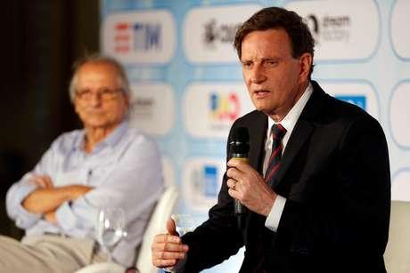 O prefeito do Rio de Janeiro, Marcelo Crivella fala durante evento de apresentação da agenda do carnaval da cidade