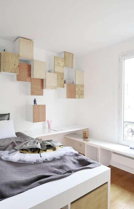 10. Quartos que também possuem um espaço para home office precisam receber nichos para quarto para ajudar a manter o espaço mais organizado