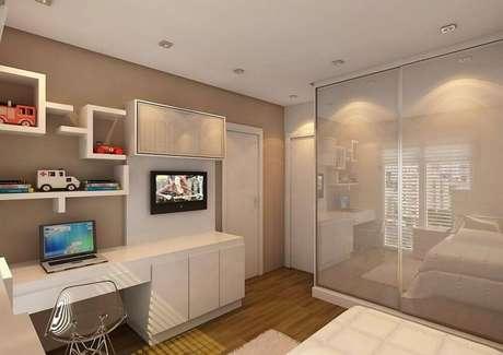 45. Decoração de quarto clean com modelo diferente de nicho sobre escrivaninha
