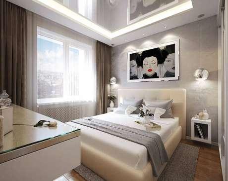 46. Nessa decoração, os nichos para quarto também se transformaram em charmosos criados-mudos
