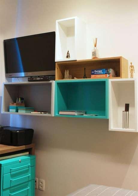 1. Juntando alguns nichos, você pode criar uma composição bacana, como nesse modelo de diferentes de nichos para quarto