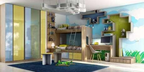 32. Nichos para quarto grandes e coloridos combinando com a decoração e bem lúdicos