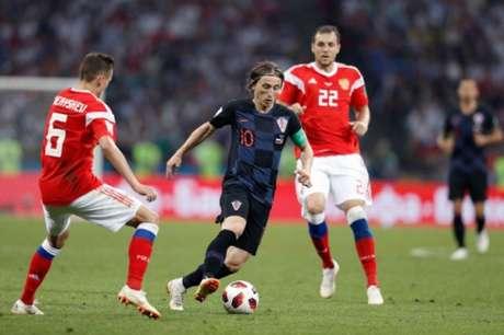 Modric durante a dramática partida contra a Rússia - FOTO: AFP