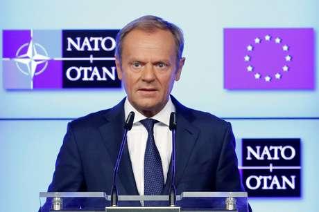 Presidente do Conselho Europeu, Donald Tusk, fala após declaração conjunta sobre maior cooperação entre a União Europeia e a Otan 10/07/2018 REUTERS/Francois Lenoir