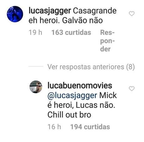 Comentários de Lucas Jagger e Lucas Bueno