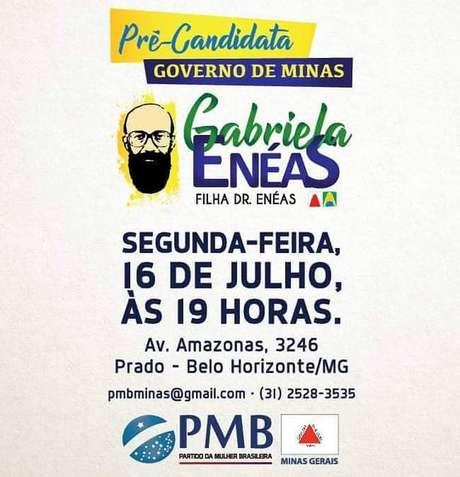 Gabriela Enéas é a nona candidata confirmada ao governo de Minas Gerais
