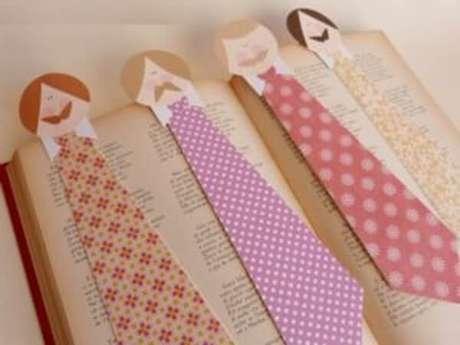 39 – Marcadores de livros podem ser feitos com materiais recicláveis. É ideal para você fazer como lembrancinhas para o dia dos pais.