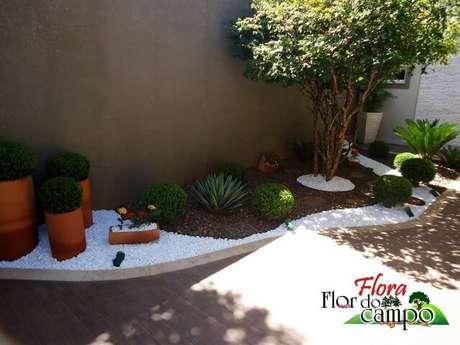 2. Jardim com pedras do rio e pedras brancas. Projeto de Flora Flor do Campo