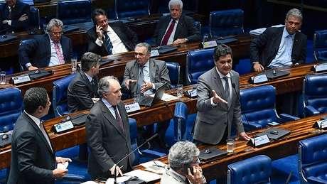 Senadores durante votação do PLC 53/2018, a Lei de Proteção de Dados Pessoais / Imagem: Marcos Oliveira/Agência Senado