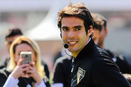 Kaká foi o mestre de cerimônias na apresentação do novo uniforme do São Paulo, que agora é feito pela Adidas
