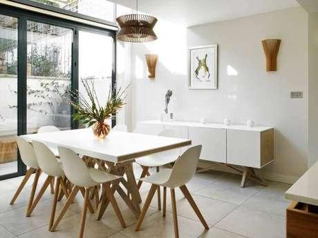 10 – Buffet para sala de jantar de MDF branco combina com qualquer estilo