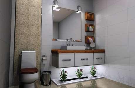 31. Armário de banheiro suspenso permite uma maior facilidade para limpeza