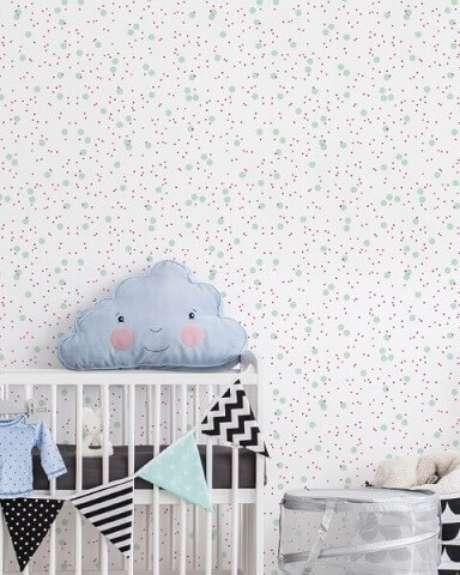 49. Papel de parede para quarto de bebê menina de bolinhas verdes. Projeto de Flavio