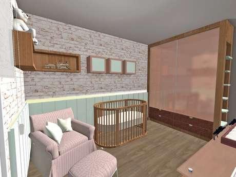14. Papel de parede para quarto de bebê menina de tijolinhos. Projeto de Priscila Mei Minku