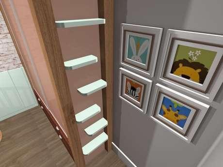 19. As prateleiras dão espaço para organizar o cômodo. Projeto de Priscila Mei Minku