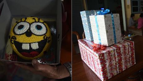 Itens da festa de aniversário preparada pela família de Peerapat Sompiangjai