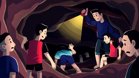 Lanternas eram única fonte de luz na caverna