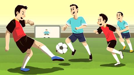 Ilustração mostra meninos jogando futebol