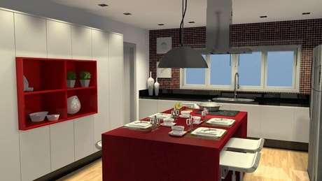 50. Em uma decoração toda branca, escolha modelos de coloridos de nichos decorativos para cozinha