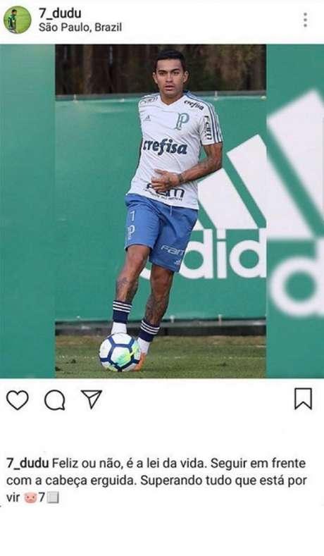 Dudu fez o post nesta noite, em sua página no Instagram (Foto: Cesar Greco)