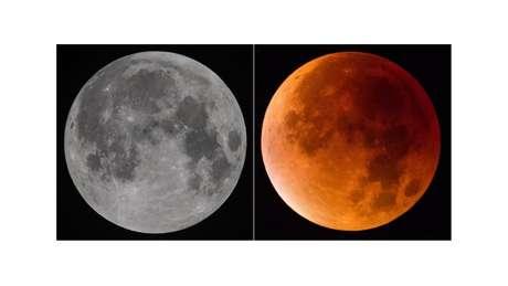 """Quando acontece um eclipse total, às vezes a Lua pode ficar com uma cor avermelhada ou alaranjada, por isso algumas pessoas chamam o fenômeno de """"lua de sangue""""."""