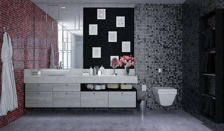 27. Banheiro com piso porcelanato cinza e pastilhas nas paredes