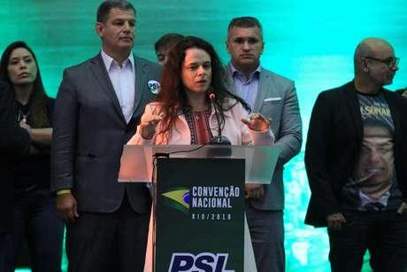 Janaina Paschoal no lançamento da candidatura de Jair Bolsonaro para à Presidência da República, durante Convenção Nacional do PSL